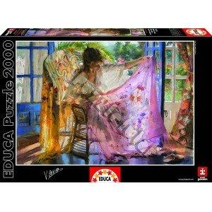 Educa Shawl Vicente Romero Puzzle 2000 Piece Pink