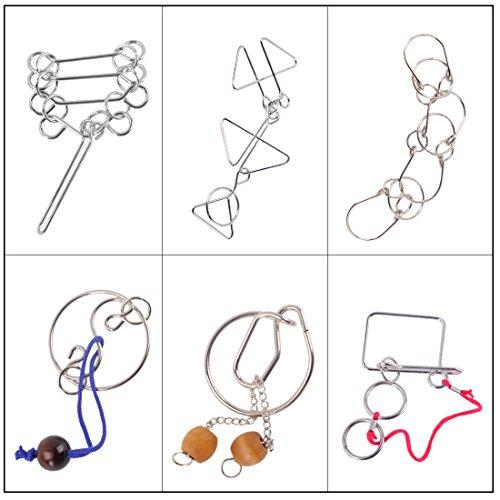 Maze Puzzles WOLFBUSH 6Pcs Ultimate IQ Test Metal Brain Teaser Puzzles Disentanglement Puzzles Toy