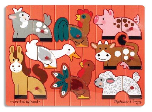 Melissa Doug Farm Animals Mix n Match Wooden Peg Puzzle 8 pcs
