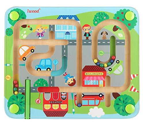 Magnetic Traffic Maze STEM Toys - iwood Wooden Puzzle Maze Fine Motor Skills Color Recognition Best Gift
