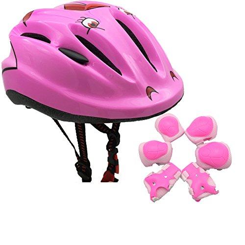 BeBeFun Pink Girl Toddler and Kids Multi-Sport Bike super lightweight Helmet Smile face pads