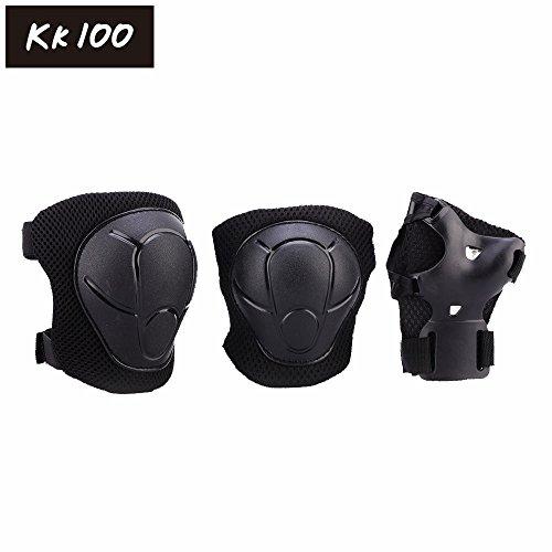 Kk 100 ChildrenKids Roller Blading Wrist Elbow Knee Pads Blades Guard 6 PCS Black