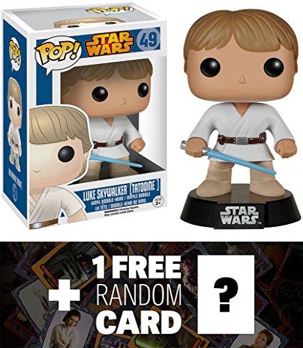 Luke Skywalker Tattooine Funko POP x Star Wars Vinyl Bobble-Head Figure w Stand  1 FREE Official Star Wars Trading Card Bundle 57107