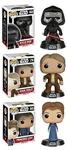 Funko POP Star Wars Episode VII - Han Solo Princess Leia w Kylo Ren Vinyl Bobble-Heads NEW