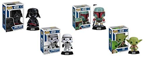 Star Wars Bobble Head Funko Pop Figure 4 items Bundle Darth Vader Stormtrooper Boba Fett and Yoda