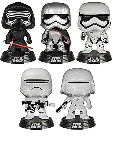 Star Wars The Force Awakens Funko Pop Bobbleheads Kylo Ren Captain Phasma Stormtrooper Flametrooper Snowtrooper with Bonus 375-Inch Captain Phasma