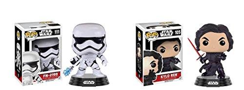 Star Wars EP7 Funko Pop Bobble Head Figure Set -Kylo Ren and FN-2199 Trooper