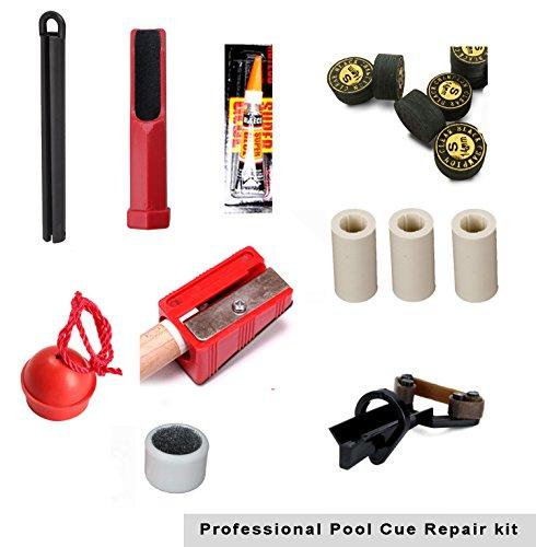 Pool Cue Repair Tip Kit-1 X Tip Clamp 2 X Cue Tip Shaper 3 X Cue Tip 3x Ferrules 1 X Chalk Holder 1 X Spike Pik 1x Glue