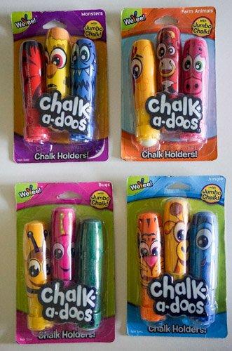 WeVeel With 12 Jumbo Chalk Chalk Holders - Bugs-Monsters-Jungle-Farm animals