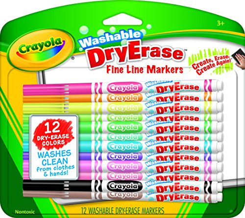 Crayola Washable Dry-Erase Markers Art Tools 12 ct Fine Line Easy Erase Bright Bold Colors