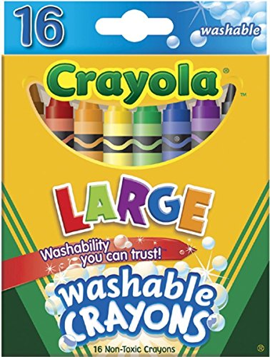 Crayola 52-3281 Large Washable Crayons Assorted Colors 16 Count Pack of 2