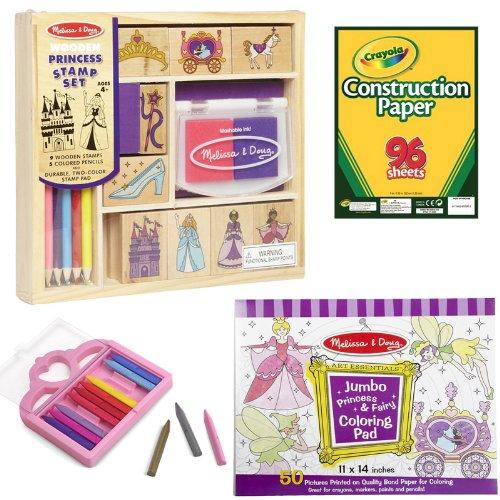 Melissa Doug Wooden Princess Stamp Set Princess Crayons Jumbo Coloring Pad and Crayola Construction Paper 96 Count