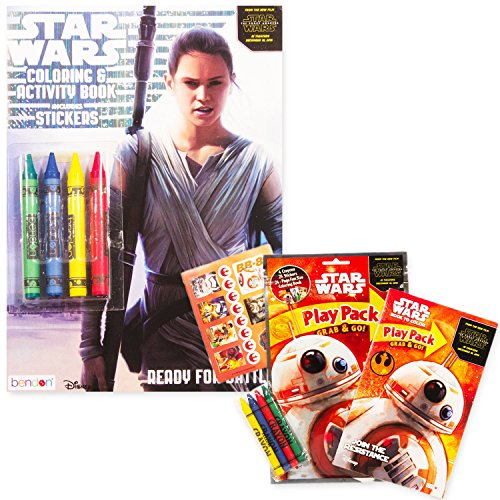 Star Wars The Force Awakens Coloring Book Set with Stickers and Crayons -- Jumbo Coloring Book with Playset Pack Featuring Star Wars Toys Rey BB8 and More