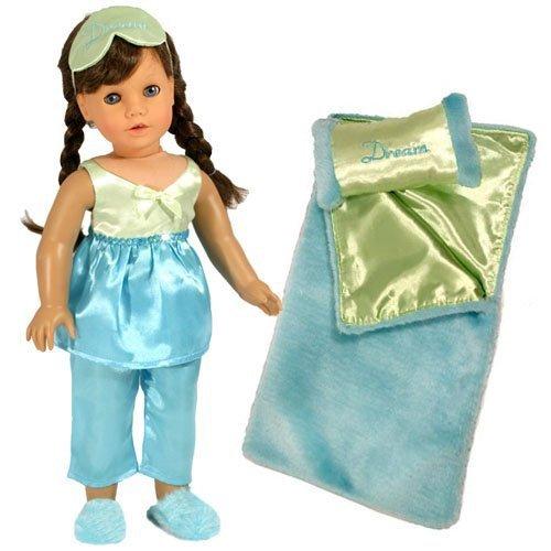 18 Inch Doll Pajamas Doll Bedding 6 Pc Gift Set by Sophias Doll PJs Sleeping Bag Fits 18 Inch American Girl Doll Clothing Set of Satin GreenTurquoise Sleepwear Eye Mask Slippers PillowBedding