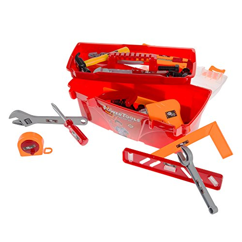 40-Piece Toy Tool Box Set-Pretend Play Construction Handyman Set for Boys and Girls-Includes Hammer Screwdrivers Drill Bolts and More by Hey Play