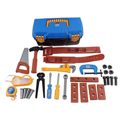MINKOU Pretend ToyTool Box-30 Durable Kids Tool Set-Pretend Play Construction Tool Kit