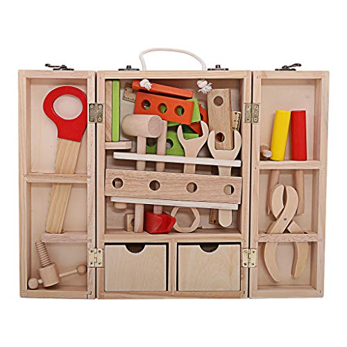 Nivalkid Wooden Tool Toys Toolbox DIY Construction Tool Simulation of Childrens Maintenance Kits Disassembly and Assembly of Intellectual Early Education Toys Fast Arrived As shown