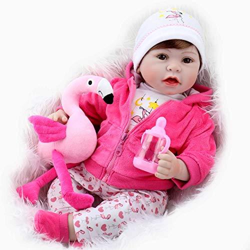 Aori Lifelike Reborn Baby Doll Realistic Vinyl Doll 22 Inch Baby Toy with Pink Flamingo Set