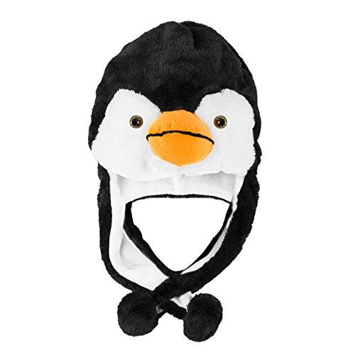 Penguin Plush Animal Winter Ski Hat Beanie Aviator Style Winter Short
