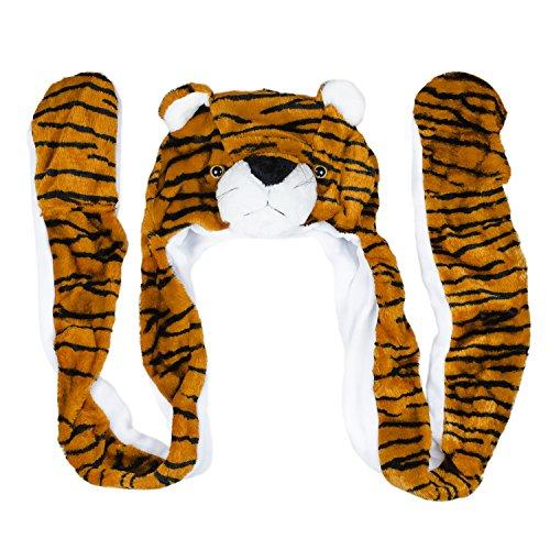 Tiger Cute Plush Animal Winter Ski Hat Beanie Aviator Style Winter Long
