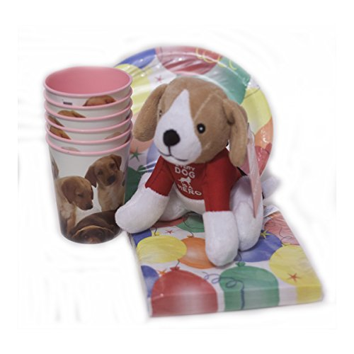 Complete Pet Birthday Bundle Includes 6 Lab Cups Party Plates Party Napkins and Stuffed Pet Dog Beagle