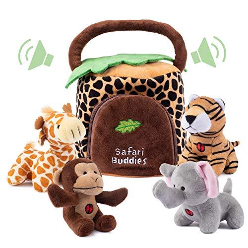 Plush Talking Jungle Animals Toy Set Plush Creations 5 Pcs  Baby Stuffed Animal Set Includes Elephant Monkey Giraffe Tiger Plush CarrierOrganizer  Great Gift Boys Girls Baby Shower