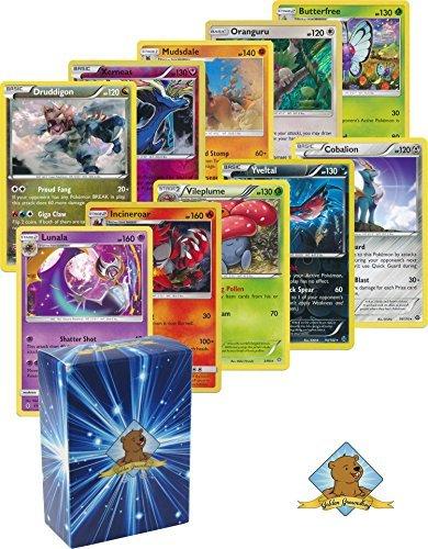 25 Pokemon Rare Card Lot 120 HP or Higher with Holos No Duplicates Bonus Pokemon Collectible Coin Includes Golden Groundhog Deck Box