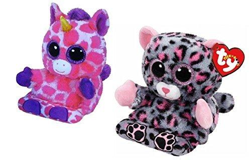 Ty Peek A Boo Phone Holder Screen Cleaner Uni Unicorn and Trixie Leopard Plush Toys