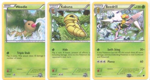 Beedrill Kakuna and Weedle - Rare Pokemon Card Evolution Set Plasma Freeze 1 2 and 3
