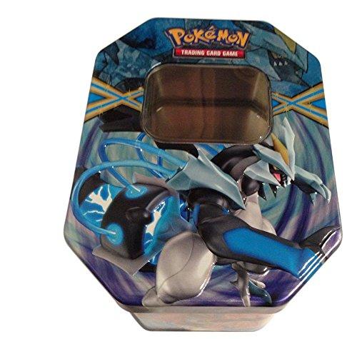 Empty Black Kyurem Tin for Pokemon Trading Card Storage Metallic Two-Piece