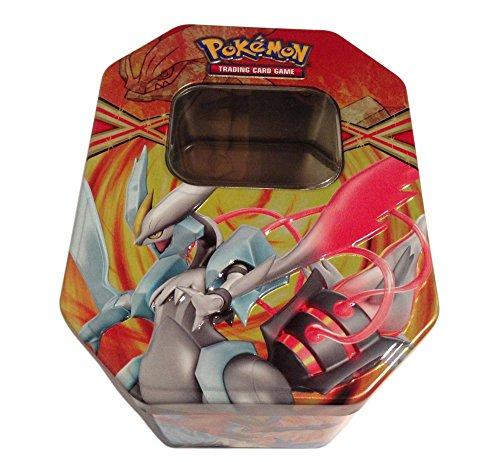 Empty White Kyurem Tin for Pokemon Trading Card Storage Metallic Two-Piece