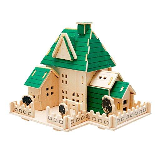 Novias Children 3D Jigsaw Woodcraft DIY Assembly Construction Model House Puzzle Kit Wooden Handcraft Educational Art Toys Christmas GiftPrincess castle