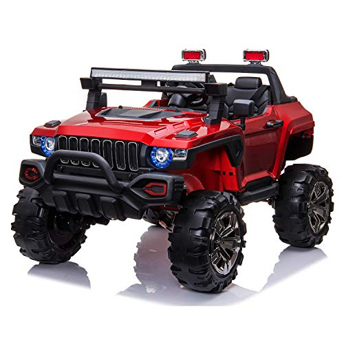 4×4 Off-Road Electric Ride on Car with Remote Control Real 2 Seaters 12V 4 Motors Power Display Spring Suspension MP3 Music Player LED Light - Red