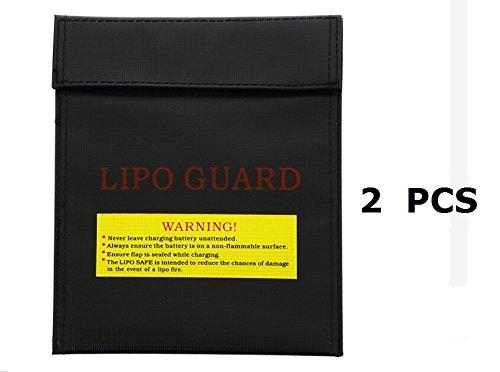 Generic Medium Size RC LiPo Li-Po Battery Safety Guard Fireproof Safe Sleeve  Bag Fiber Material for Charge Storage 18x23CM Black 2PCS