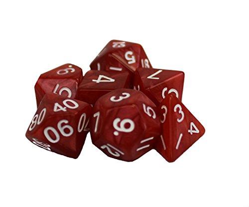 Dragons Play Polyhedral 7-Die Red Dice Set - d4 d6 d8 d10 d12 d20 d00