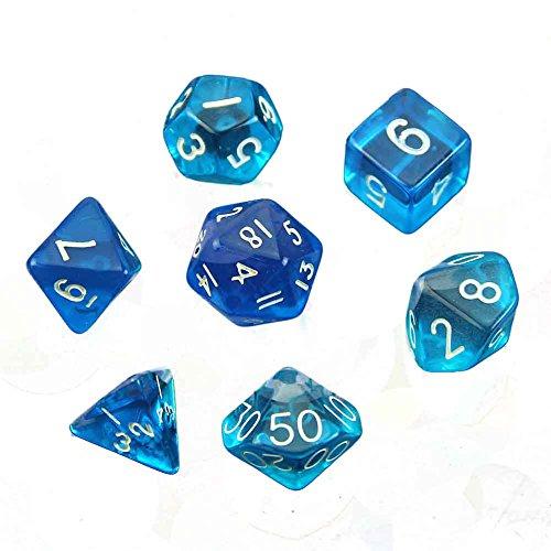 LAYs 7pcs Polyhedral Dice D4 D6 D8 D10 D12 D20 Game Dice Translucent Plastic for D&D Games