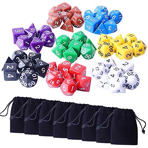 Zealor 8 x 7 56 Pieces Polyhedral Dice 8 Color Dungeons and Dragons DND MTG RPG D20 D12 D10 D8 D6 D4 Game Dice Set
