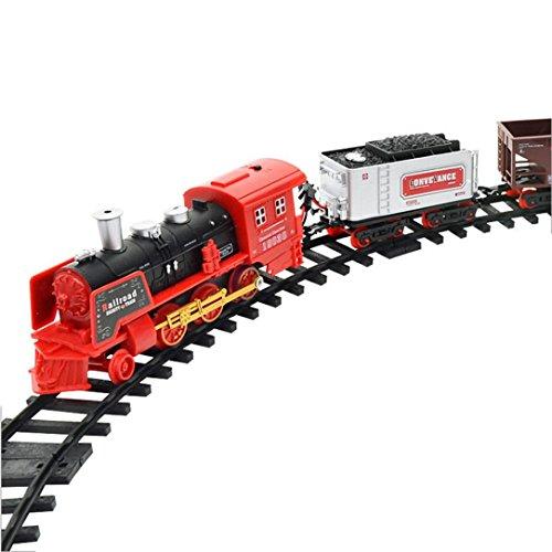 Iusun RC Conveyance Car Electric Steam Smoke Remote Control Train Set Model Toy Gift B