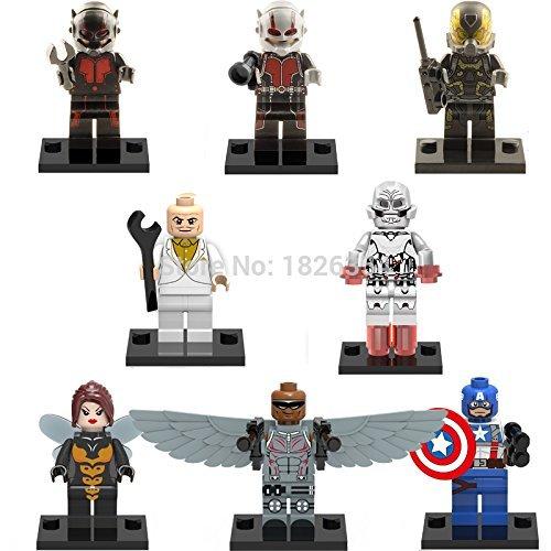 8pcslot Baby toys Super Heroes Avengers Antman Captain ANT MAN x0102 Minifigures Building Blocks Brick Mini Figures Action fiugres Toys