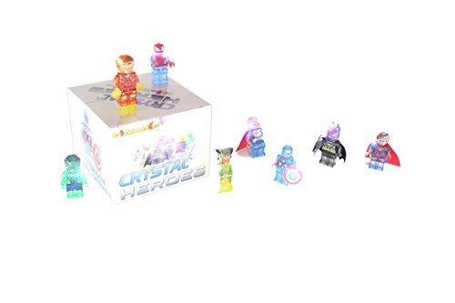 BRICKBUDDIES 8 Crystal Super Heroes Superhero Avengers Minifigures Set With Gift Box