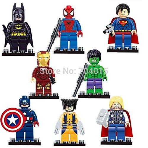 Super heroes The Avengers Figures Superman Batman Iron Man Hulk Wolverine Minifigures building blocks Compatible with lego toys WITHOUT original boxes