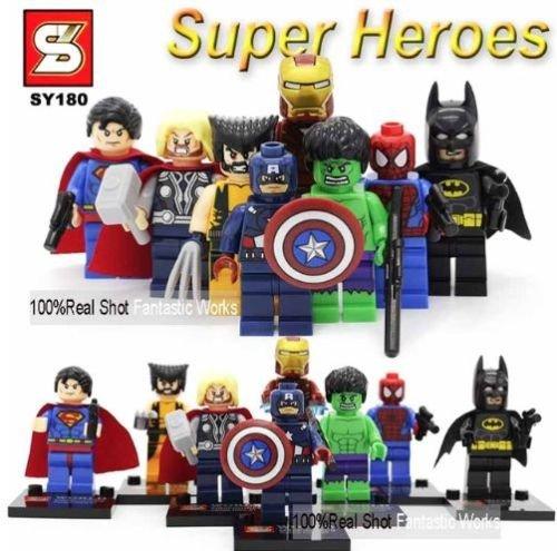 mini figures star wars marvel avengers man keyrings dc super hero fits with lego SuperHeroes Avengers - 8 mini