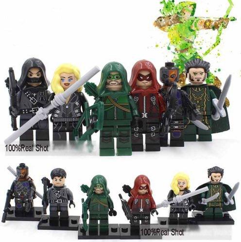 6Piece DecoolMarvelAvengers Green arrow and Team SuperHeroes Series Minifigures Building Blocks Figures Size 45-5 cm Without Original Box