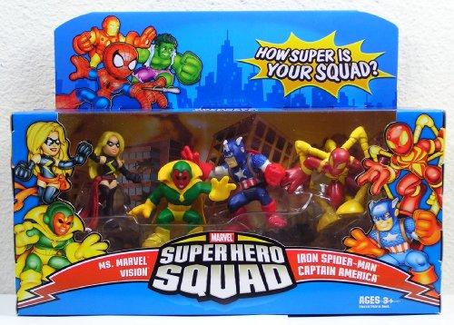Marvel Super Hero Squad Ms Marvel Vision Cpt America Avengers