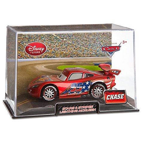 Disney  Pixar CARS 2 Movie Exclusive 148 Die Cast Car In Plastic Case Stars Chase Piece Stars Stripes Lightning McQueen