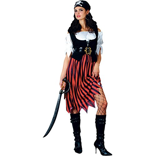 Wicked Pirate Lady Fancy Dress Ladies Pirates Outfit 6 Sizes Women 26-28