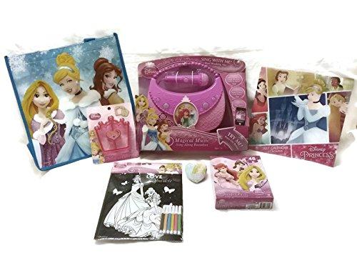 Disney Princess Royal Party Bundle - 1 x Magical Music Sing-song Boombox Crust Cutter 2017 Calendar Large Tote Bag 48pc Puzzle Magic Grow Towel Velvet Coloring Sheet - 7 Items
