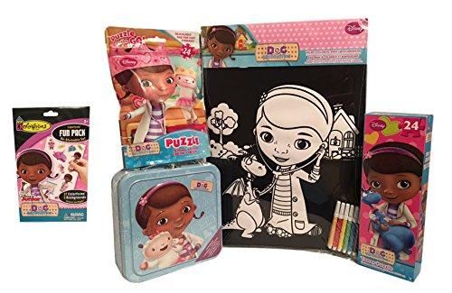 Doc McStuffins Tin Puzzles Colorforms and Velvet Coloring Sheet Bundle of 5