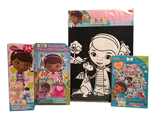 Doc Mcstuffins 4 Item Bundle Wooden Doll Magnetic Dress-Up Puzzle Velvert Coloring Sheet and Sticker Book