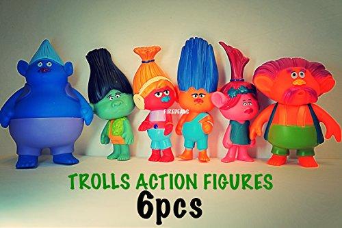 Fire Deals Trolls DreamWorks Toys Dolls 6 pcs Figure Custom Toy 10 to 11 cm PVC Head Movable Decor Party Favors Free Ebook Coloring Sheets